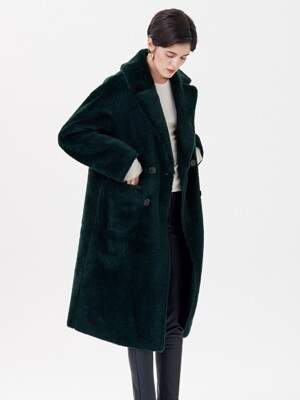 WOOL REVERSIBLE DUMBLE LONG MUSTANG COAT GREEN