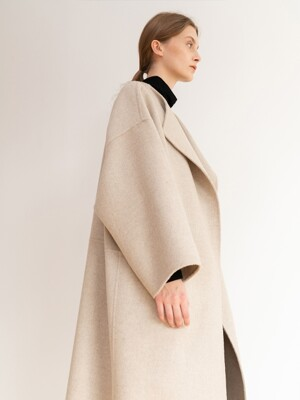 [ESSENTIAL] Muffler Handmade Coat Light-Beige