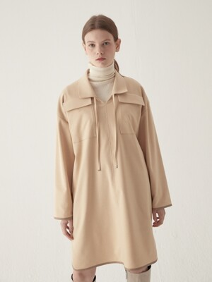 Two pocket collar one-piece - Beige