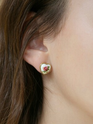 heart rose earrings