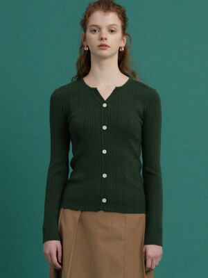 monts 1064 v-neck button knit (green)