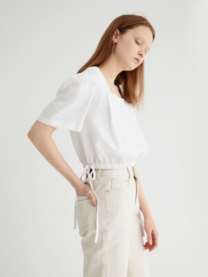 20' SPRING_White Linen Mini Blouse