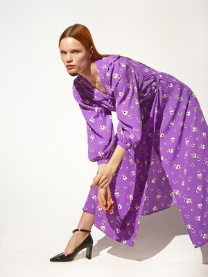 Ruffle Trimmed Wrap Dress_Violet