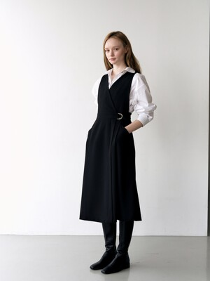 Button-up Wrap Dress_Black