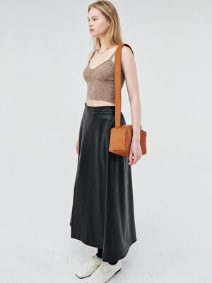 VEGETABLE LAMBSKIN LEATHER SLIT SKIRT