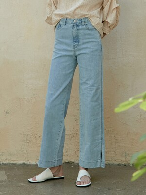 slit point denim pants (light blue)