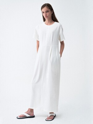 Round Neck Cocoon Dress White