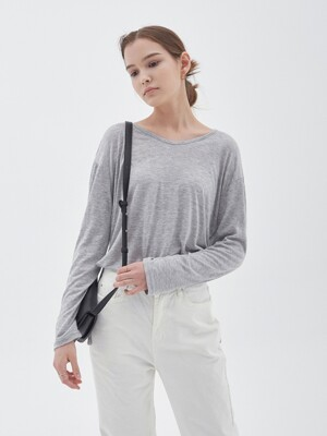 LOOSE LONG SLEEVE T-SHIRT_GRAY