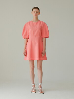 Puff Sleeve Mini Linen Dress_Pink