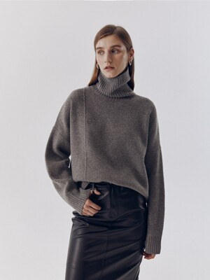 UNISEX LINKED TURTLENECK WOOL SWEATER MELANGE GREY_UDSW0F111G2