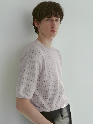 [Men] Textured Short Sleeve Sweater (Lilac)
