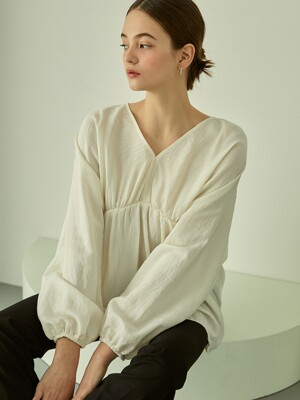 Charming V-neck Shirring Blouse (Ivory)