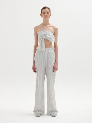 SENEZ Wide Pants - Ivory/Blue Stripe