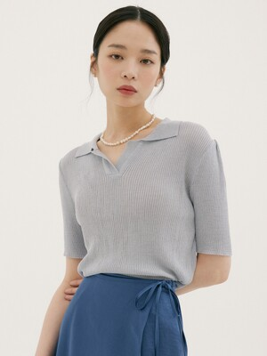 FSK COLLAR KNIT PERSIAN BLUE
