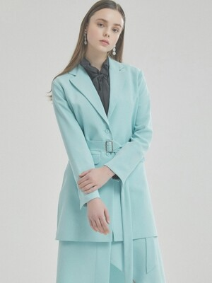 WOMAN MODERN LONG BELTED JACKET (MINT)