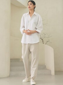 linen banding pants [regular fit]_oatmeal