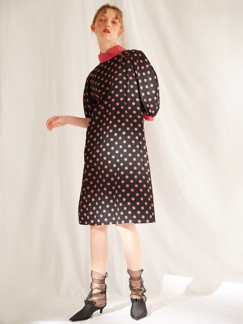BIG DOT HIGH NECK DRESS_BLACK