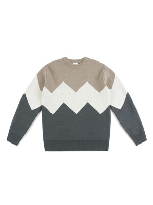 ALPS KNIT (BEIGE-GRAY)