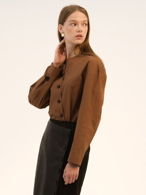 comos'45 oblique line blouse (brown)