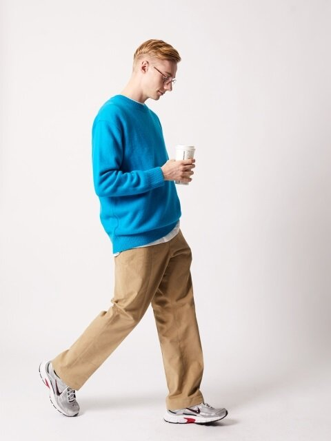 Crew Neck Wool Knit (Azul Blue)