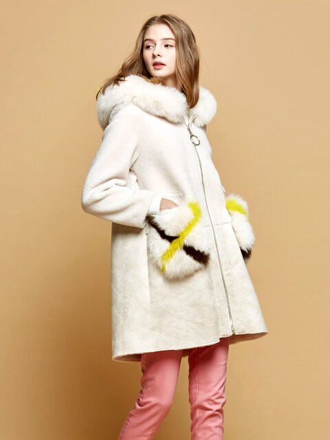 JULIE / Shearling Coat Mustang