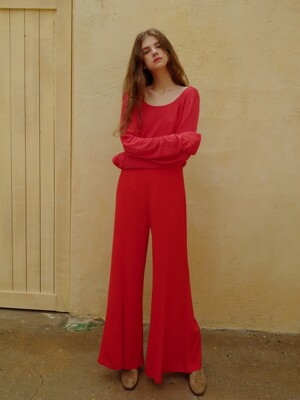 Flare pants_Crimson red