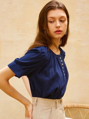 [by joorti] J225 Button point puff blouse (navy)