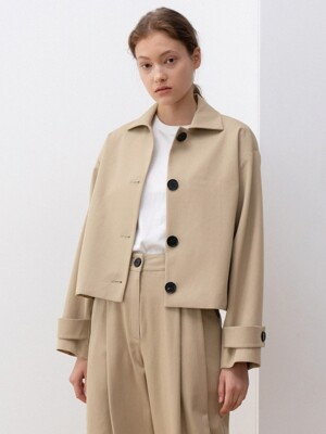 cotton button short jacket (khaki beige)