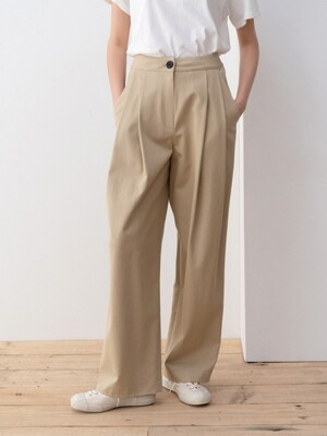 wrinkle pintuck pants (khaki beige)