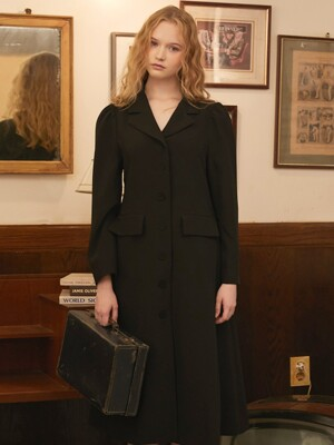 BLACK TAILORED COAT DRESS