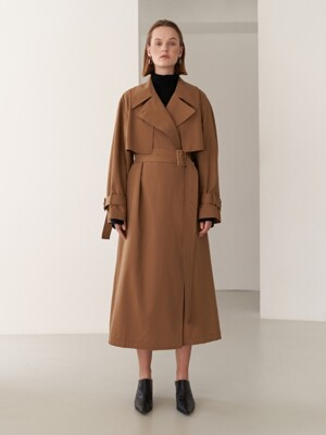 19FW DOUBLE TRENCH COAT BROWN
