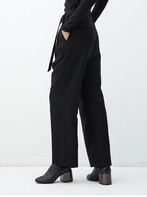 BLACK wool belted wide fit slacks(KB004)