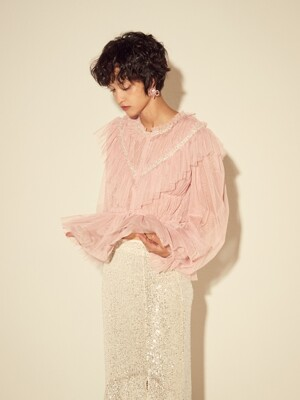 SPANGLE TULLE BLOUSE - PINK/BLACK