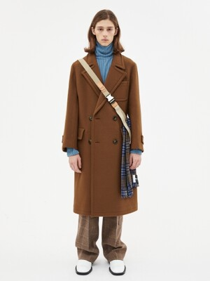 NEW MARTINE DOUBLE BREASTED COAT awa219m(BROWN)