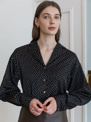 DOT TULIP SLEEVE BLOUSE_BLACK