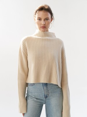 NTW CASHMERE RIBBED TURTLENECK KNIT 4COLOR