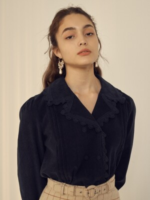 monts 1031 pintuck detail double blouse (navy)