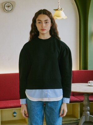 Puff Sleeve Layered Sweatshirts_Black