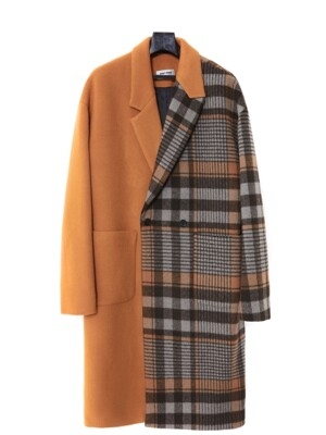 [ 19FW SAMPLE SALE ] SOLID CHECK MIX COAT
