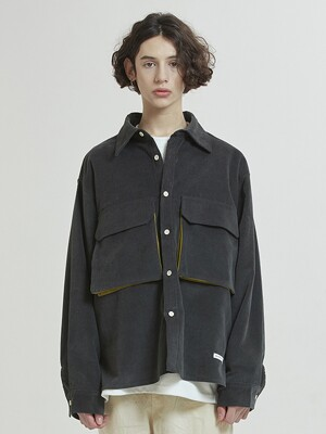 Layer Pocket 16s Corduroy Shirts-Jacket (charcoal)