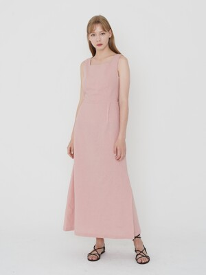 LS LINEN BACK RIBBON ONE-PIECE_PINK