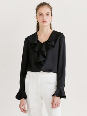 ELLA Ruffle blouse (Black)