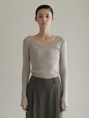 V. square neck knit (gray beige)