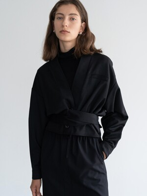 TIE-WAIST CROPPED JACKET (BLACK)