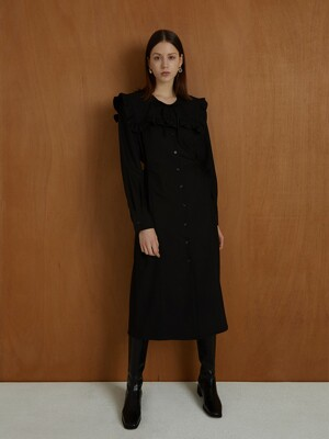 frill collar v neck dress black