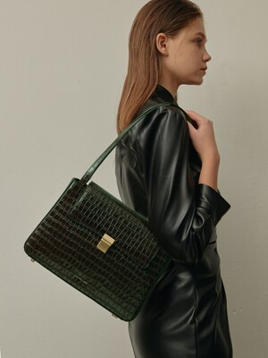 Mari classic bag - croc black forest