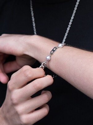 [써지컬스틸] BR46 Two pearl black chain mix bracelet