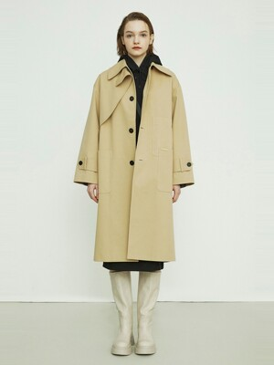 Oversized Check-mix Trench Coat_QUCAX21100BEX
