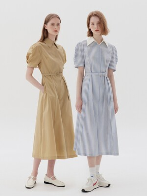 HANDAM Short sleeve shirt dress (Blue stripe/Butter)