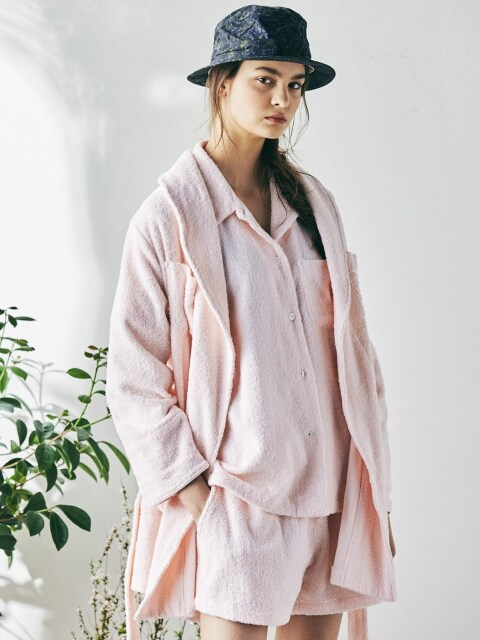 (W) Buffalo Mid Robe Coat Terry Pink